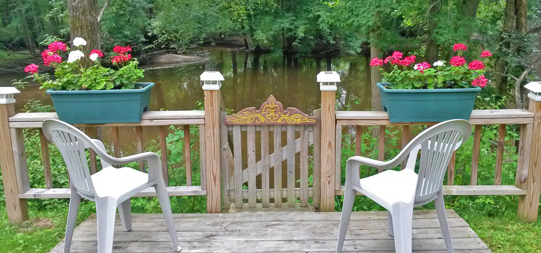 Campsite deck on the Thornapple River