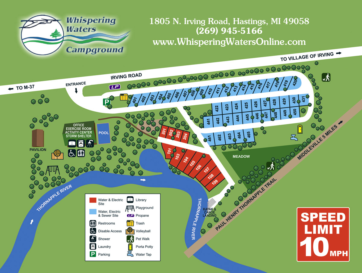 Whispering Waters Site Map